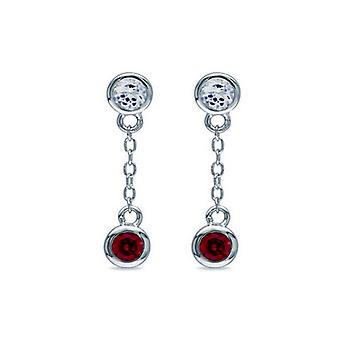 Affici 18ct White Gold Plated Sterling Silver Short Drop Earrings with Ruby & Diamond CZ Gems