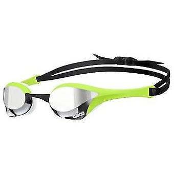 Arena Cobra Ultra Mirror Swim Goggle-Mirrored Lens-Silver/Green/White