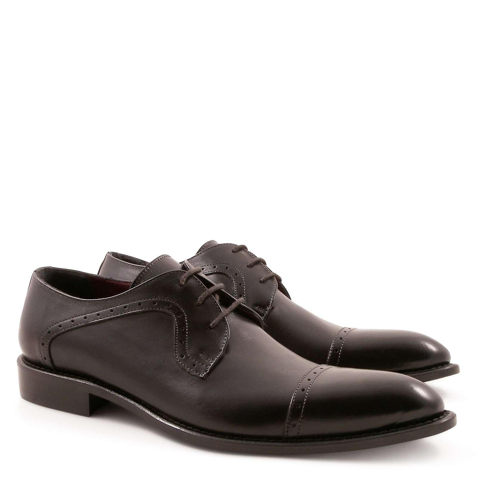 Handmade toe black plain cap toe Handmade blucher shoes for men 0c7b40