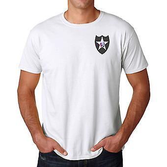 US Army 2nd Infantry Division Embroidered Logo - Ringspun Cotton T Shirt