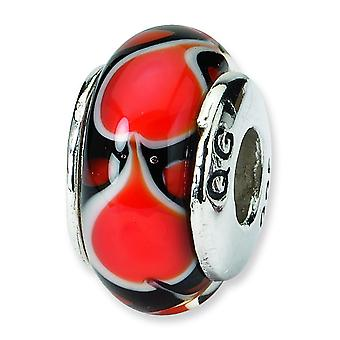 Sterling Silver Polished Antique finish Reflections Red Heart Murano Glass Bead Charm