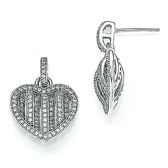 Sterling Silver and Cubic Zirconia Polished Heart Dangle Post Earrings