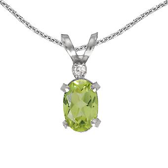 10k White Gold Oval Peridot And Diamond Filagree Pendant with 16