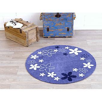 Velour kids blue carpet Flower Field around 100 cm | 101938