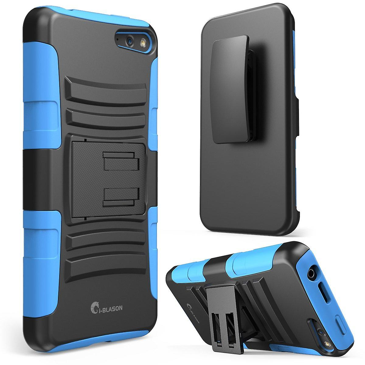 i-Blason Amazon Fire Phone Case - Prime Series Dual Layer Holster Case with Kickstand and Locking Belt Swivel Clip- Blue