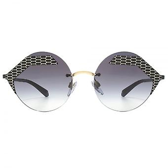 Bvlgari Serpenteyes Abstract Round Sunglasses In Matte Black Pale Gold