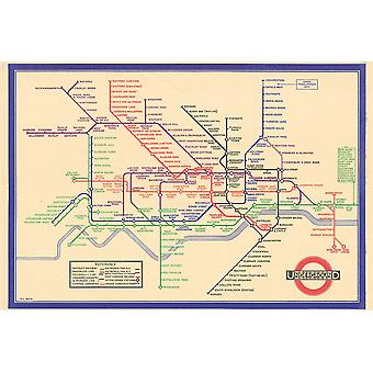 London Tube Map 1933 Poster Print Giclee