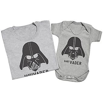Baby Vader & Daddy Vader - Matching Father Baby Gift Set - Grey