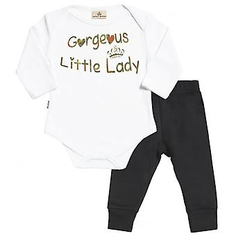 Spoilt Rotten Gorgeous Little Lady Baby T-Shirt & Baby Jersey Trousers Outfit Set