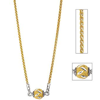 Necklace chain with trailer ball 925 Silver gold plated 46 cm necklace