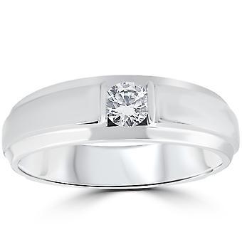 1 / 6CT Mens diamant Solitaire bague 10K or blanc