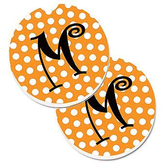 Monogram Initial M Orange Polkadots  Set of 2 Cup Holder Car Coasters