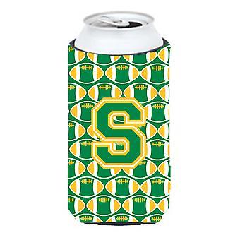 Letter S Football Green and Gold Tall Boy Beverage Insulator Hugger