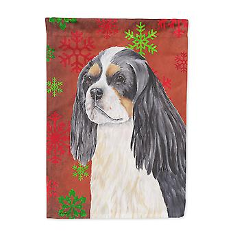 Cavalier Spaniel Red and Green Snowflakes Holiday Christmas Flag