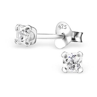 Square - 925 Sterling Silver Classic Ear Studs - W18401x