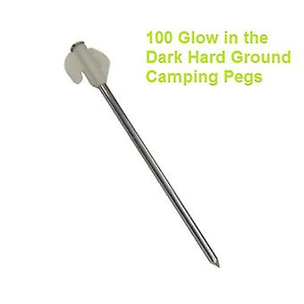 100 Glow in the Dark Hard Ground Camping Pegs
