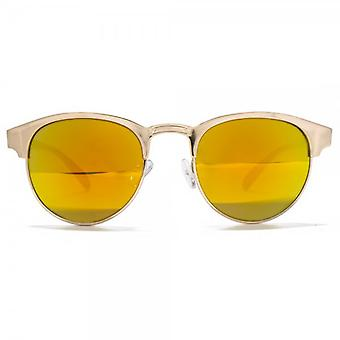 Miss KG Metal Round Preppy Sunglasses In Shiny Gold
