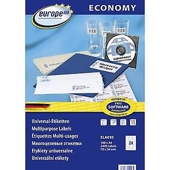 Europe 100 ELA010 Labels (A4) 70 x 36 mm Paper White 2400 pc(s) Permanent All-purpose labels Inkjet, Laser, Copier