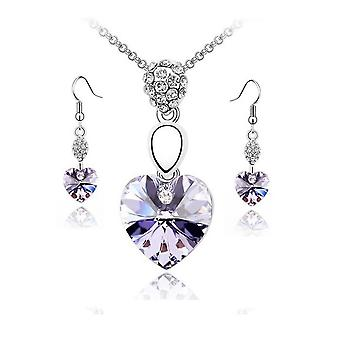 Fashion Womens Violet Heart Silver Chain Necklace Pendant