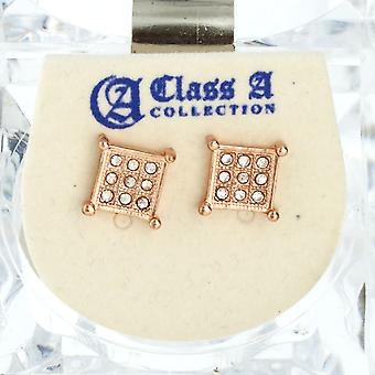 Iced Out Bling Ohrstecker Box - SHAPE 8mm rose gold