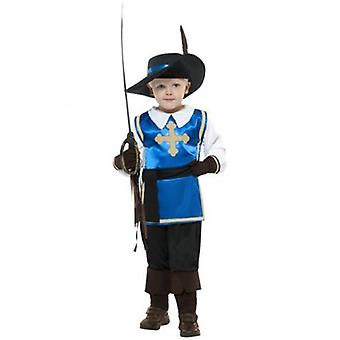 Smiffys Musketeer Child Costume Blue Top Trousers Hat & Gloves