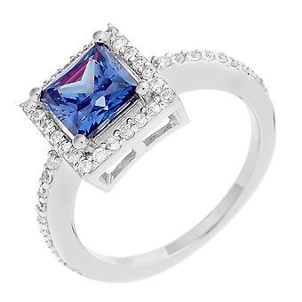 Orphelia Silver 925 Ring Square Blue  Zirconium Onia  ZR-6046/1