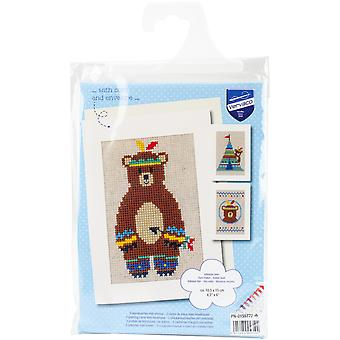 Indian Bear Greeting Cards On Aida Counted Cross Stitch Kit-4.2