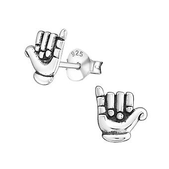 Hand - 925 Sterling Zilver Plain Ear Studs - W23227X