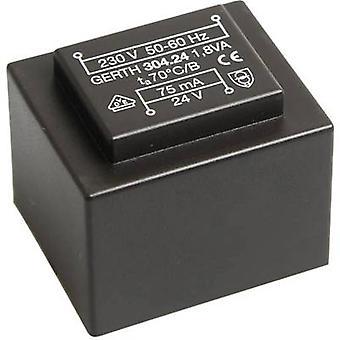PCB mount transformer 1 x 230 V 2 x 9 V AC 1.80 VA 100 mA PT301802 Gerth
