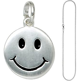 Children trailer smiling face 925 Silver kids pendant with chain 38 cm