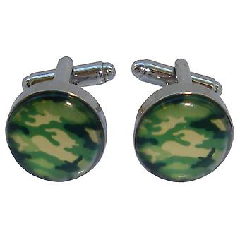 Bassin and Brown Round Camouflage Cufflinks - Green