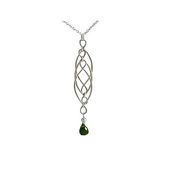Gemshine - Damen - Halskette - Anhänger - Turmalin Quarz - 925 Silber - Grün - INFINITY - 7,5 cm