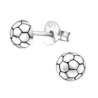 Football - 925 Sterling Silver Plain Ear Studs - W26812x