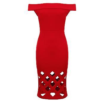 Bardot sans manches de dames au large de l'épaule Laser découpe genou longueur robe Bodycon