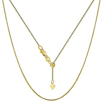 14k Yellow Gold Adjustable Box Chain Necklace, 0.7mm, 22