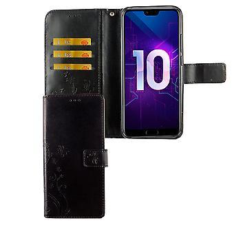 Huawei Honor 10 Handy-Hülle Schutz-Tasche Cover Flip-Case Kartenfach Schwarz