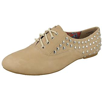 Ladies Spot On Flat Casual Studded Lace Up Shoes