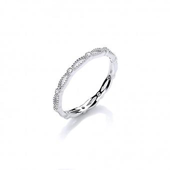 Cavendish French Fine Silver and CZ Curves and Studs Ring