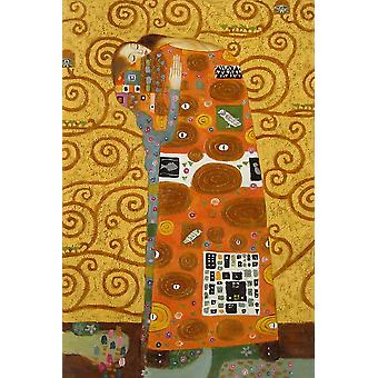 After Klimt, the kiss hand painted oil painting on canvas, 90x60 cm