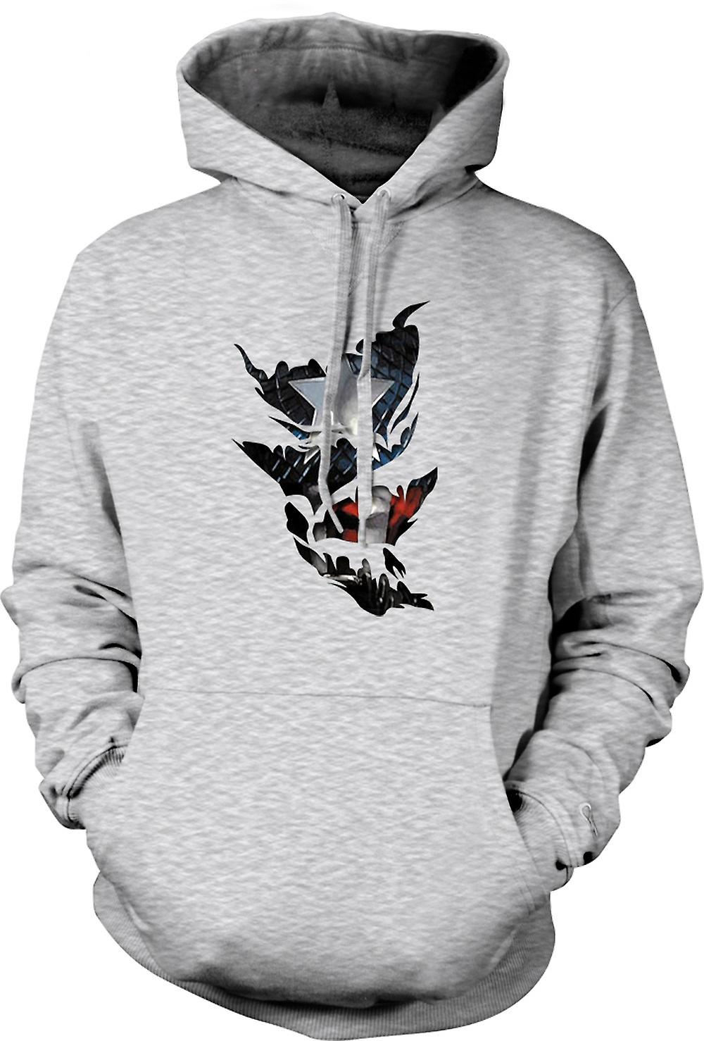 Mens Hoodie - Captain America - Ripped Effect