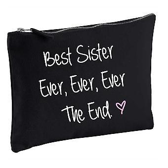 Best Sister Ever Ever Ever The End Black Make up Bag