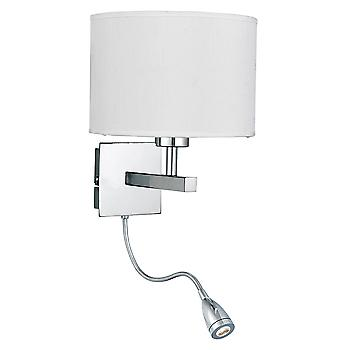 Searchlight 3550CC Chrome Switched Wall Light with a Fabric Shade