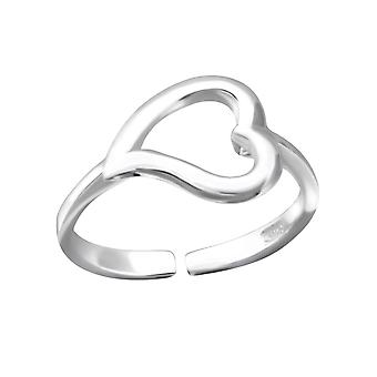 Curved heart - 925 Sterling Silver Toe Rings - W4337X