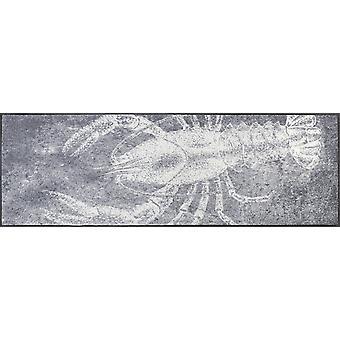 wassen + droge mat grijs kreeft 60 x 180 cm wasbaar vuil mat