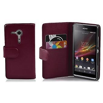 Cadorabo Hülle für Sony Xperia SP -Handyhülle aus strukturiertem Kunstleder mit Standfunktion und Kartenfach – Case Cover Schutzhülle Etui Tasche Book Klapp Style