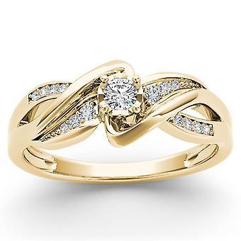 IGI Certified 14k YELLOW Gold 0.15 Ct Diamond Split Shank Engagement Wedding Ring