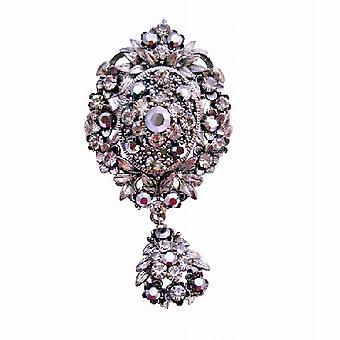 Vintage Oxidized Black Diamond Crystals Dangling Cubic Zircon Brooch