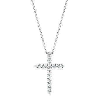 14K White Gold Moissanite by Charles & Colvard 1.3mm Round Pendant Necklace, 0.16cttw DEW
