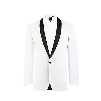 Dobell Mens White Tuxedo Dinner Jacket Slim Fit Contrast Shawl Lapel