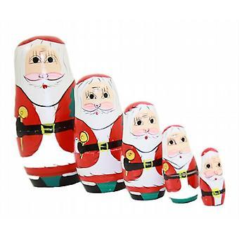 Figuras decorativas madera Santa Navidad ruso Matryoshka muñecas Set de 5